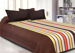 Brown Base Vertical Stripes Cotton Double Bed Sheet
