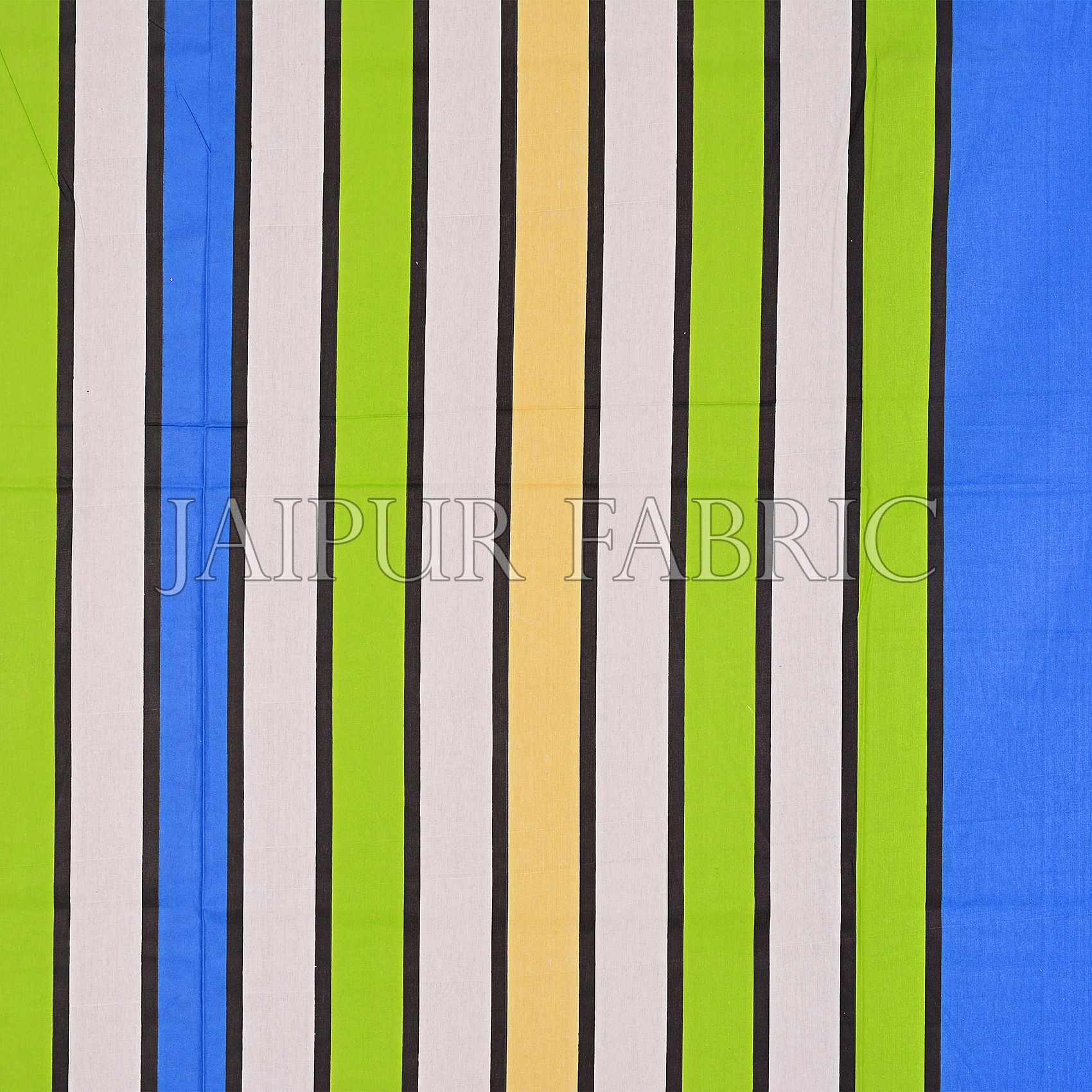 Blue Base Vertical Stripes Cotton Double Bed Sheet