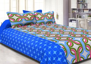 Blue Base Green Printed Cotton Double Bed Sheet