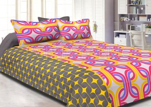 Brown Base Pink Printed Cotton Double Bed Sheet