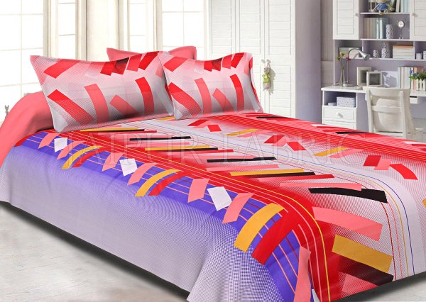 Red Purple Texture Design Cotton Double Bed Sheet