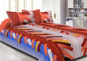 Orange Blue Texture Design Cotton Double Bed Sheet
