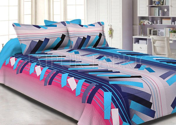 Blue Pink Texture Design Cotton Double Bed Sheet