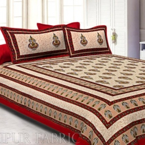Maroon Border Cream  Base Sanganeri Print Super Fine Cotton Double Bedsheet