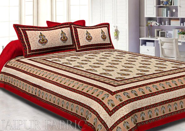Maroon Border Cream  Base Sanganeri Print Super Fine Cotton Double Bedsheet