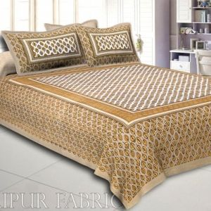 Brown Border Leaf Pattern Screen Print Cotton Double Bed Sheet