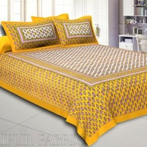 Yellow Border Leaf Pattern Screen Print Cotton Double Bed Sheet