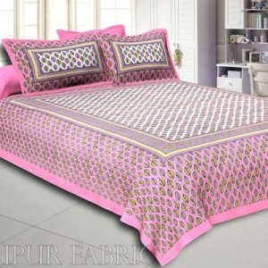 Pink Border Leaf Pattern Screen Print Cotton Double Bed Sheet