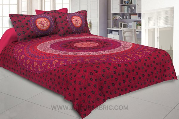 Red Double Bedsheet Indian Mandala Tapestry Hippy Tapestries Hippie Beach Throw