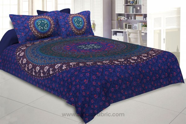 Blue Double Bedsheet Indian Mandala Tapestry Hippy Tapestries Hippie Beach Throw