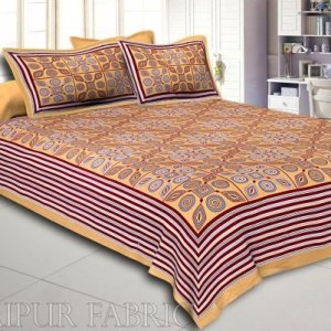 Brown Border Brown Base Multi Shape Pattern Screen Print Cotton Double Bed Sheet