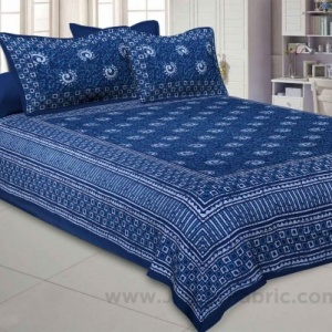 Royal Blue Rangoli Pure Cotton Jaipuri Dabu Print Bedsheet