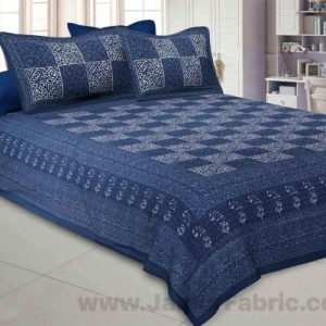 Dark Grey Check Pure Cotton Jaipuri Dabu Print Bedsheet