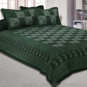 Green Check Pure Cotton Jaipuri Dabu Print Bedsheet