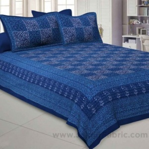 Royal Blue Check Pure Cotton Jaipuri Dabu Print Bedsheet