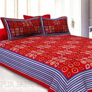 Red Geometric Printed Cotton Double Bed Sheet