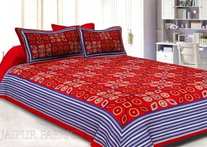 Wholesale Red Geometric Printed Cotton Double Bed Sheet