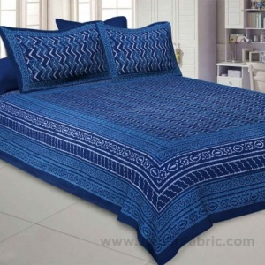 Royal Blue Zigzag  Pure Cotton Jaipuri Dabu Print Bedsheet