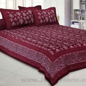Maroon Palm Tree Pure Cotton Jaipuri Dabu Print Bedsheet