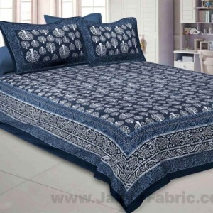 Dark Grey Palm Tree Pure Cotton Jaipuri Dabu Print Bedsheet
