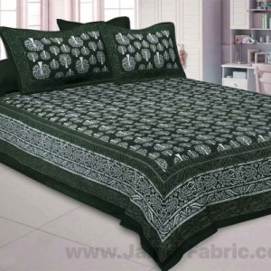 Green Palm Tree Pure Cotton Jaipuri Dabu Print Bedsheet