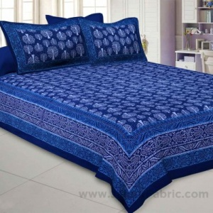 Royal Blue Palm Tree Pure Cotton Jaipuri Dabu Print Bedsheet