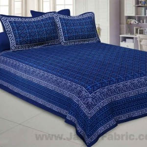 Royal Blue Retro Print Pure Cotton Jaipuri Dabu  Bedsheet