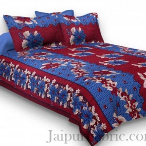 Pure Cotton Maroon and Blue Floral Jaipuri Procian Bedsheet