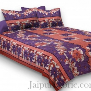 Pure Cotton Rusty and Purple Floral Jaipuri Procian Bedsheet