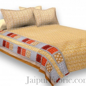 Pure Cotton Yellow Golden Color Small Floral Jaipuri Procian Bedsheet