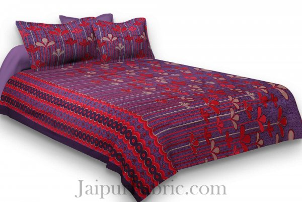 Pure Cotton Purple Base Red Leaves Print Jaipuri Procian Bedsheet