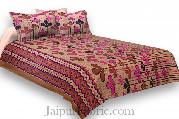 Pure Cotton Brwon Base Pink Leaves Print Jaipuri Procian Bedsheet