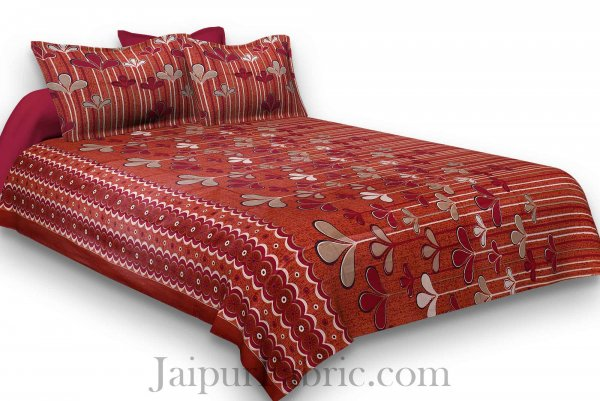 Pure Cotton Chery Base Red Leaves Print Jaipuri Procian Bedsheet