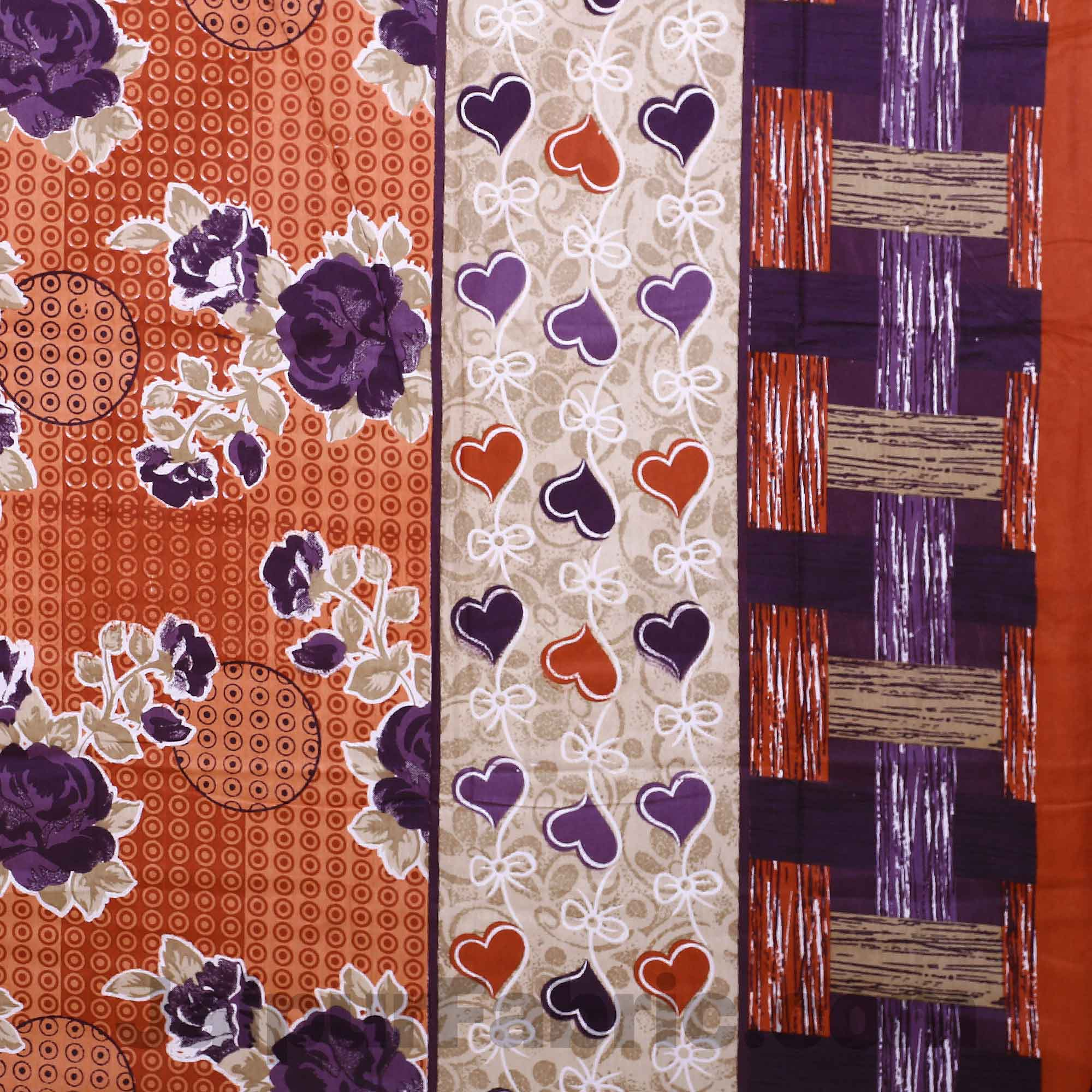 Pure Cotton Brown Base Purple Floral Jaipuri Procian Bedsheet