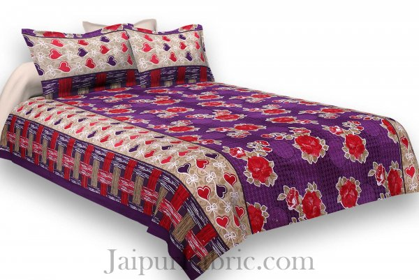 Pure Cotton Purple Base Red Floral Jaipuri Procian Bedsheet