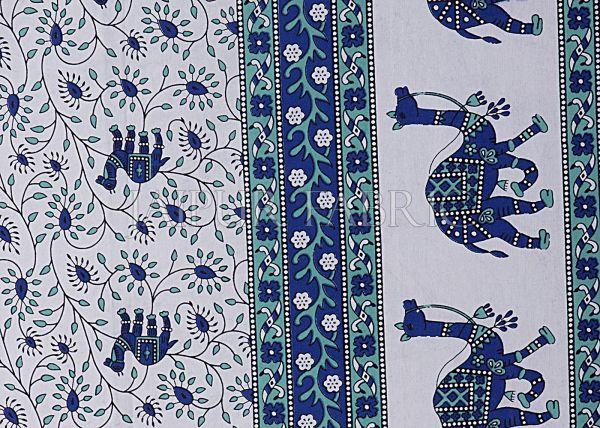 Blue Base Jaipuri Camel Printed Cotton Double Bed Sheet
