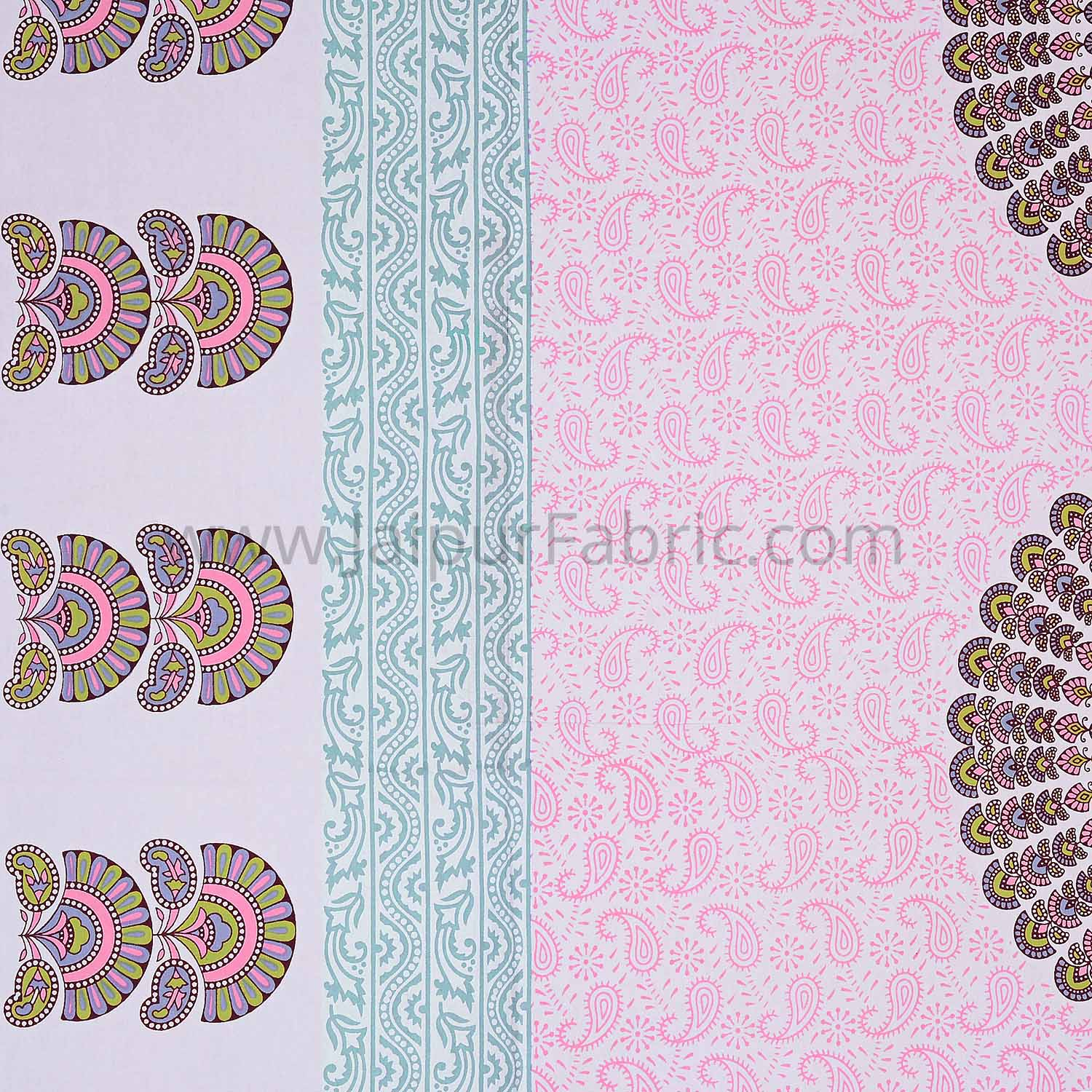 Pink Sanganeri Printed Cotton Double Bed Sheet