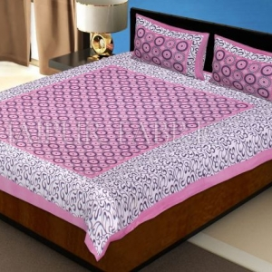 Pink Border Dotted Circle and Tropical Printed Cotton Double Bed Sheet