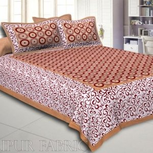 Brown Border White Base Circle Pattern Screen Print Cotton Double Bed Sheet