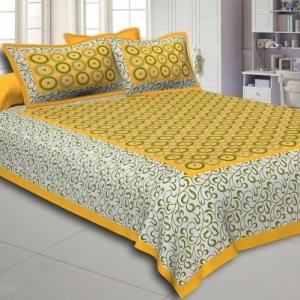 Yellow Border White Base Circle Pattern Screen Print Cotton Double Bed Sheet