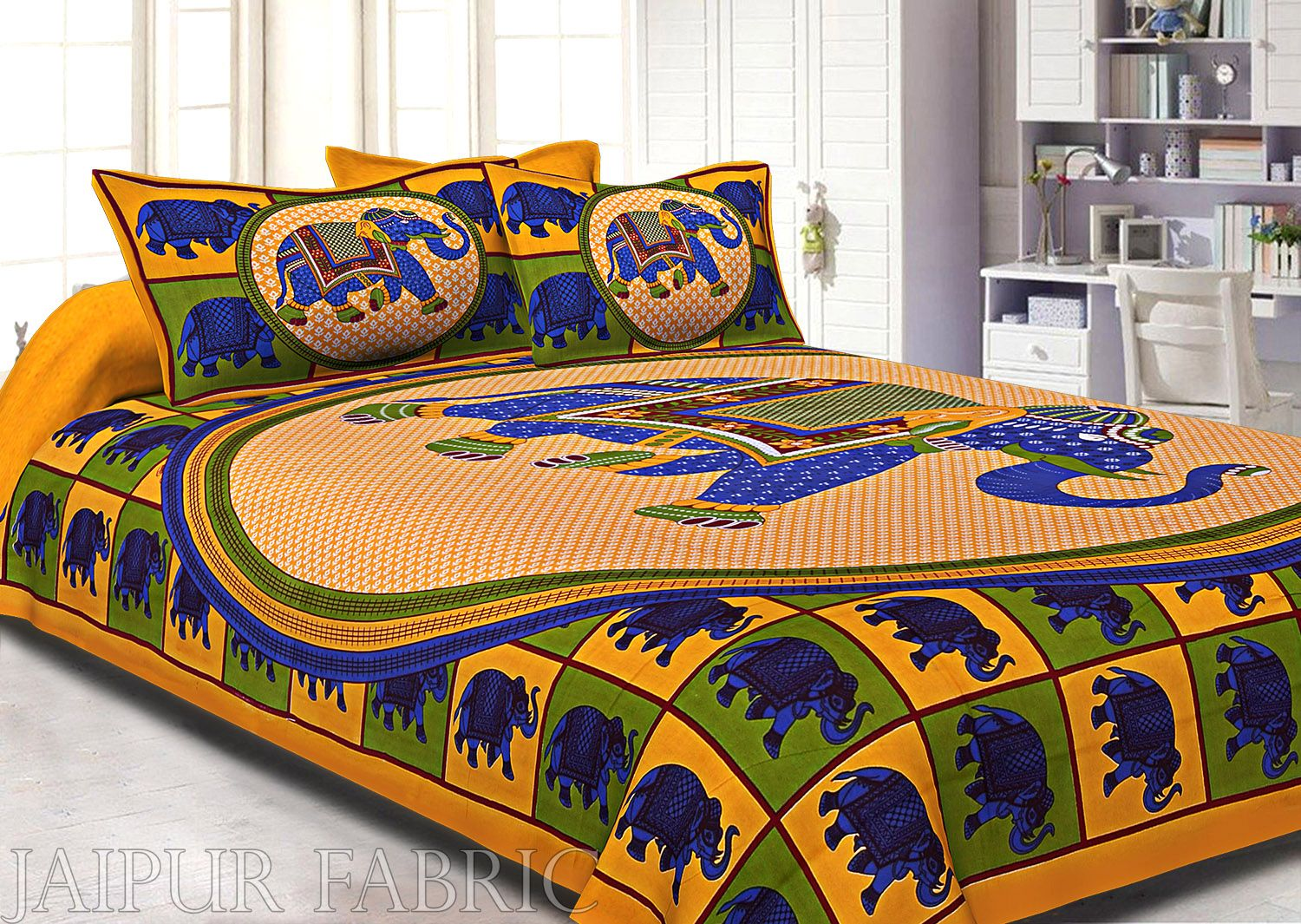 Yellow Base Elephant and Floral Printed Cotton Double Bed Sheet