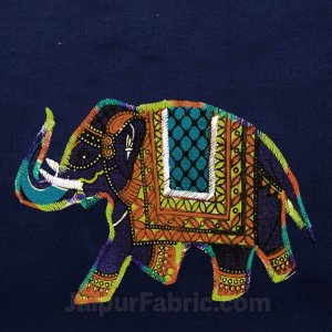 Applique Blue Elephant Jaipuri  Hand Made Embroidery Patch Work Double Bedsheet