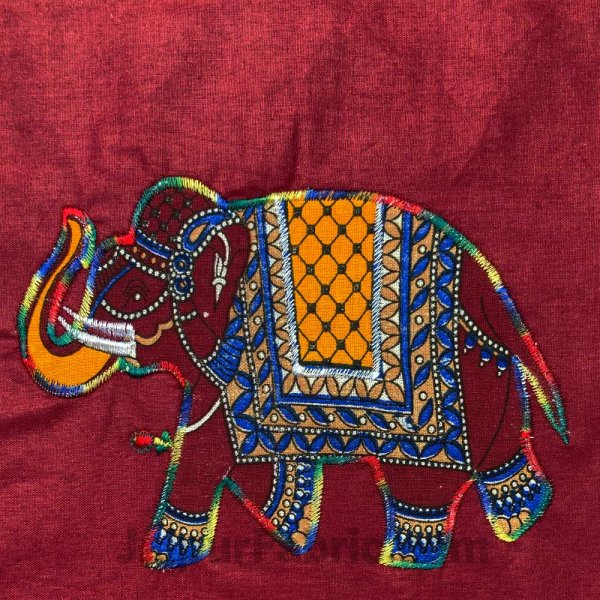 Applique Maroon Elephant Jaipuri  Hand Made Embroidery Patch Work Double Bedsheet