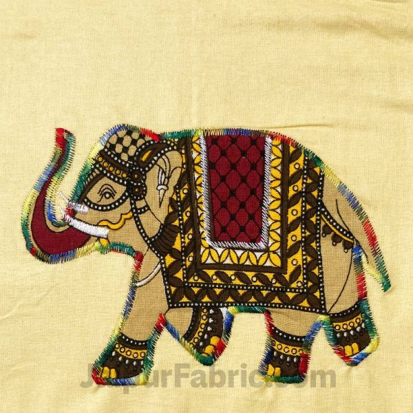 Applique Cream Elephant Jaipuri  Hand Made Embroidery Patch Work Double Bedsheet