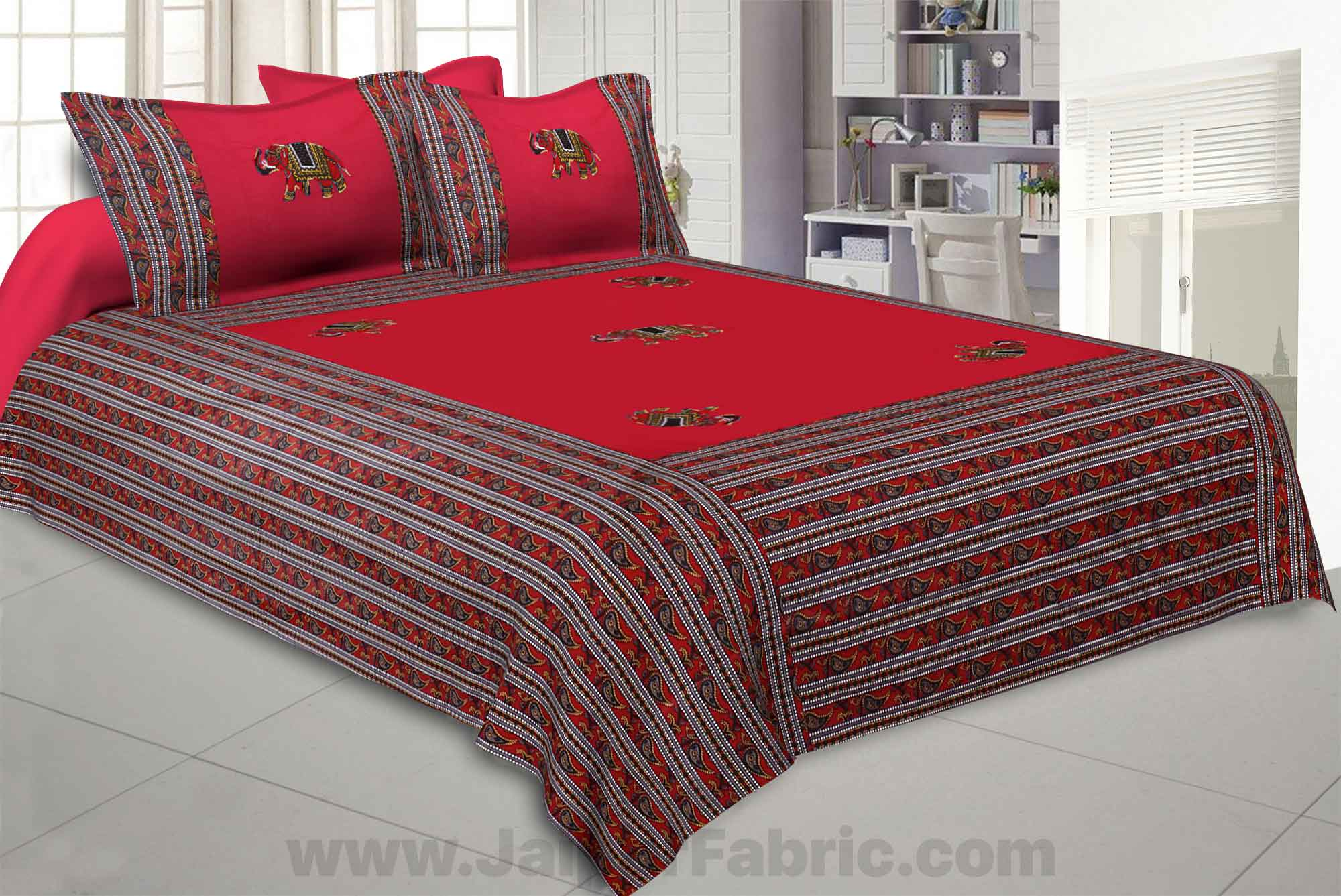 Applique Red Elephant Jaipuri  Hand Made Embroidery Patch Work Double Bedsheet