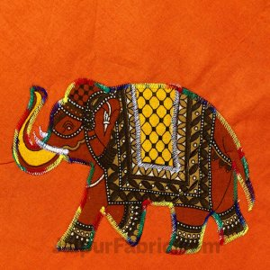 Applique Orange Elephant Jaipuri  Hand Made Embroidery Patch Work Double Bedsheet