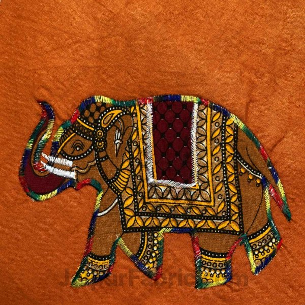 Applique Mustard Elephant Jaipuri  Hand Made Embroidery Patch Work Double Bedsheet