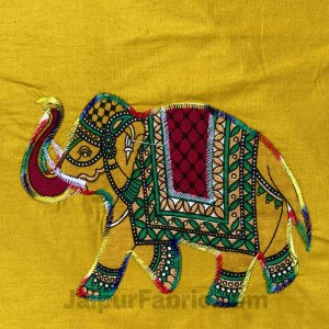 Applique Mehandi Green Elephant Jaipuri  Hand Made Embroidery Patch Work Double Bedsheet