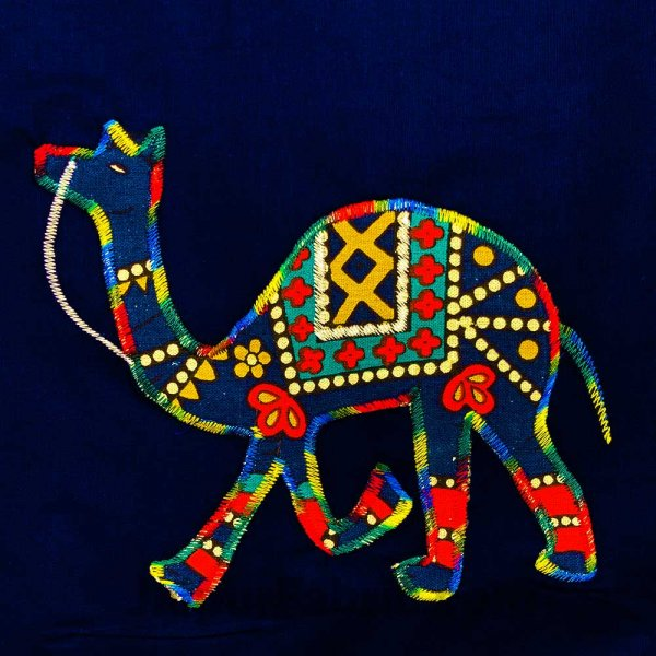 Applique Blue Camel Jaipuri  Hand Made Embroidery Patch Work Double Bedsheet