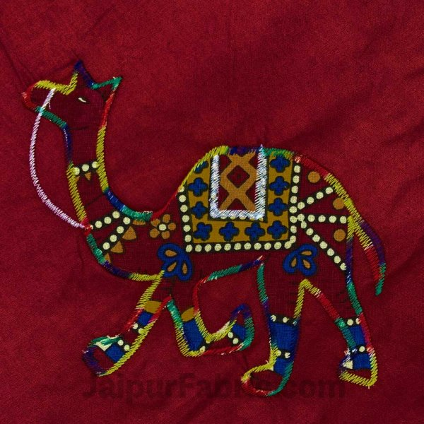 Applique Maroon Camel Jaipuri  Hand Made Embroidery Patch Work Double Bedsheet